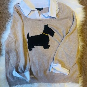 Notations scottie dog lovers layered sweater
